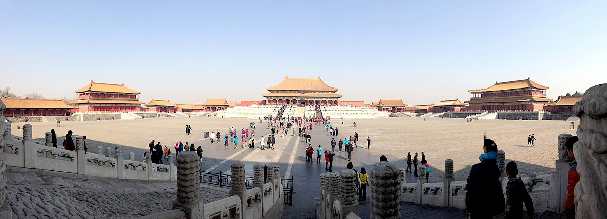 Panorama on a sunny day in the forbidden city