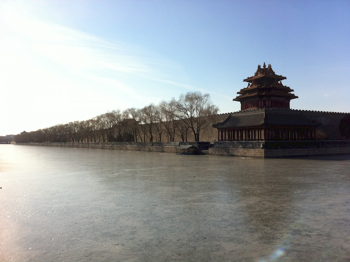 A cold winter morning outside the forbidden city in Beijing