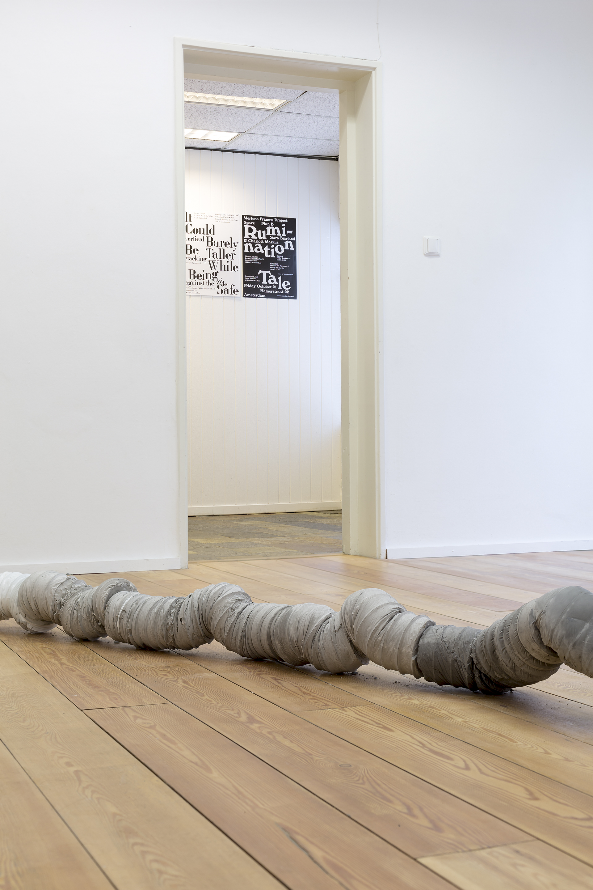 'Untitled (crawl)' by Sara Bjarland (in the background the poster made by Our Polite Society)